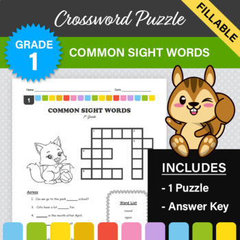 1st Grade - Dolch Sight Words Crossword Puzzle #1
