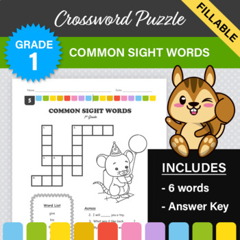 1st Grade - Dolch Sight Words Crossword Puzzle #5