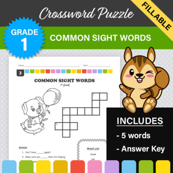 1st Grade - Dolch Sight Words Crossword Puzzle (Set 3)