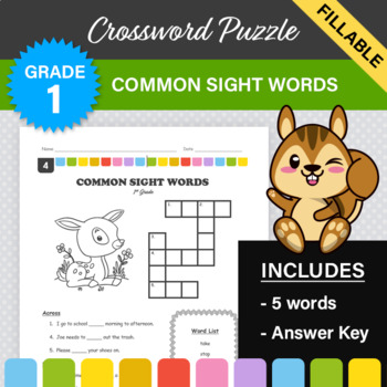 1st Grade - Dolch Sight Words Crossword Puzzle #4