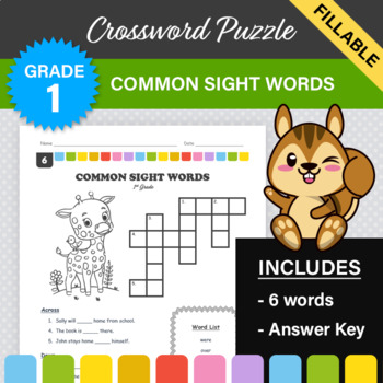 Dolch Sight Words Crossword Puzzle #6 (1st Grade)