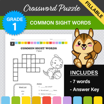 1st Grade - Dolch Sight Words Crossword Puzzle (Set 7)
