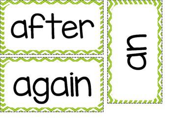 1st Grade Dolch Sight Words ~ Green Chevron