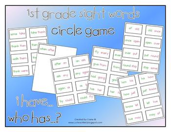 "1st Grade Dolch Sight Words ""I Have Who Has"" Game"