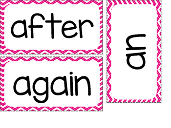 1st Grade Dolch Sight Words ~ Pink Chevron