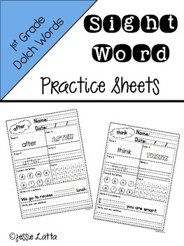 1st Grade Dolch Sight Words Practice Sheets
