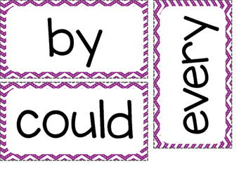 1st Grade Dolch Sight Words ~ Purple Chevron