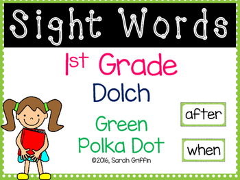 1st Grade Dolch Sight Words ~ Green Polka Dot