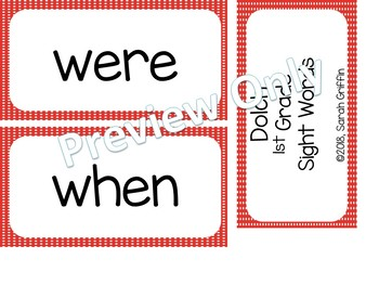 1st Grade Dolch Sight Words ~ Red Polka Dots ~ Word Wall Cards