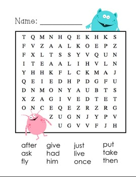 1st Grade Dolch Sight Words- Word Search