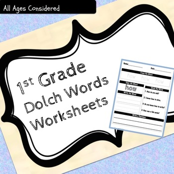 1st Grade Dolch Sight Words Practice Worksheets