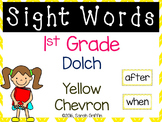 1st Grade Dolch Sight Words ~ Yellow Chevron ~ Word Wall Cards