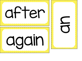 1st Grade Dolch Sight Words ~ Yellow Polka Dot