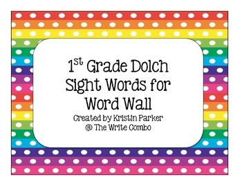 1st Grade Dolch Sight Word Cards for Word Wall