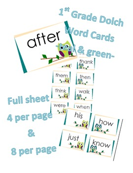 1st Grade Dolch Word Cards -Owls Teal & Green