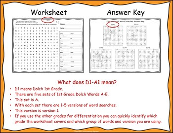 1st Grade Morning Work - 1st Grade Dolch Words: Word Searches or Word Puzzles
