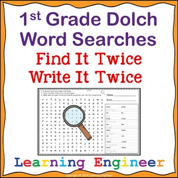 1st Grade Word Search, Dolch Sight Words, Spelling Practic