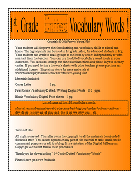 1st. Grade Dotted Vocabulary Words