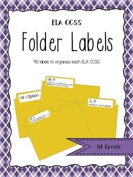 1st Grade ELA CCSS Folder Labels