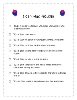 1st Grade ELA CCSS I Can Statements- Owl Theme