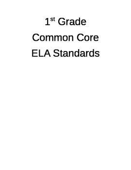1st Grade ELA CCSS I Can Statements- Editable