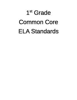 1st Grade ELA CCSS I Can Statements- Editable