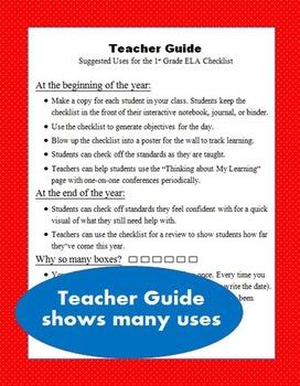 1st Grade ELA Common Core Checklist