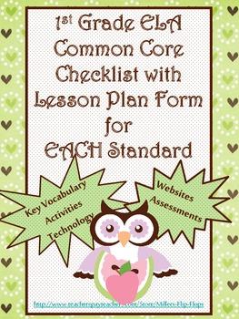 1st Grade ELA Common Core Checklist - Lesson Planning Form - OWL