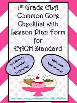 1st Grade ELA Common Core Checklist - Lesson Planning Form