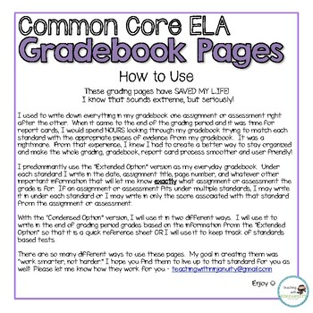 1st Grade ELA Common Core Gradebook Pages