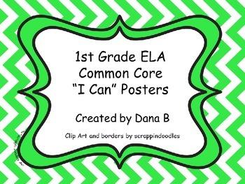 """1st Grade ELA Common Core """"I Can"""" Posters - Chevron"""