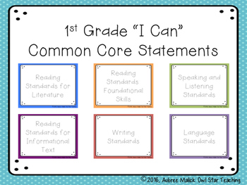 "1st Grade ELA Common Core ""I Can"" Statements"