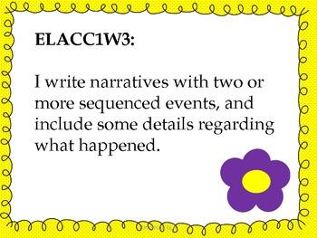 1st Grade ELA Common Core Standards - Student Friendly--Flower Theme