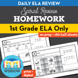 1st Grade ELA Homework Spiral Review Distance Learning Packet