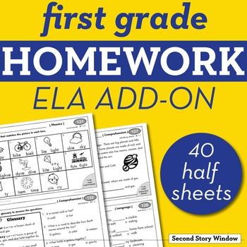 1st Grade ELA Homework Add-On Pack