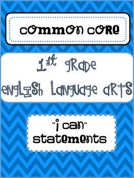 "1st Grade ELA ""I Can"" Statements"