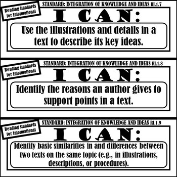 """1st Grade ELA """"I Can Statements"""" (Common Core Aligned) BLACK AND WHITE!"""