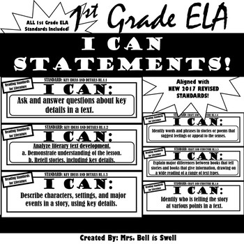 """1st Grade ELA """"I Can"""" Statements (Black and White Theme)"""
