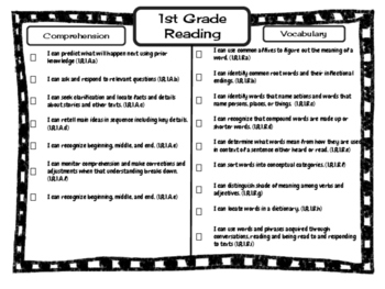 1st Grade ELA Missouri Learning Standards I can Statement & Checklist