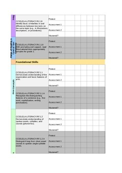 1st Grade ELA Standards Data Sheet