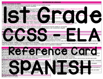 Common Core (CCSS) Reference Card - 1st Grade ELA (SPANISH)