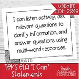 "2019 First Grade ELA TEKS ""I Can"" Statements"