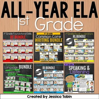 1st Grade ELA Year-Long GROWING Bundle- All Common Core Standards for ELA