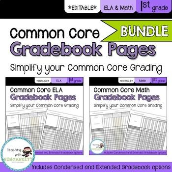1st Grade ELA and Math Common Core **EDITABLE** Gradebook Pages **BUNDLE**