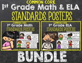1st Grade ELA and Math Standards Posters Bundle