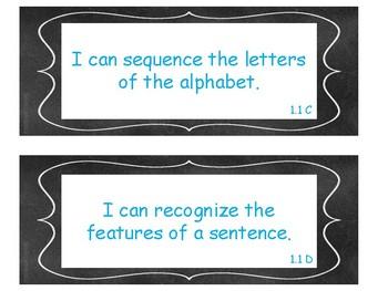 1st Grade ELAR TEKS I Can Statements Chalkboard Theme