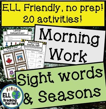 Teaching with Seasons, Morning Work, ELL Friendly, No Prep!