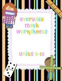 1st Grade Editable Everyday Math Worksheets Units 6-10 (EDM Worksheets)