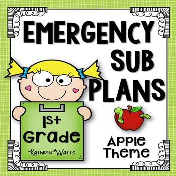 1st Grade Emergency Sub Plans (Apple Theme)
