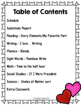 1st Grade Sub Plans February